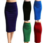 New Ladies Plain Office Womens Stretch Bodycon Midi Jersey Pencil Skirt Solid