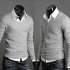 Mens Slim Fit Stylish Sweater Long Sleeve Polo Shirts Knit Pullover T-shirt Tops