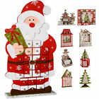 Wooden Advent Calendar Christmas Decoration, Santa Snowman Train Reindeer House