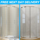 Walk In Quadrant Shower Cubicle Enclosure and Tray Corner Glass Door+FREE Waste