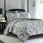 Twin Full Queen King Bed Black White Floral Toile 3 pc Cotton Quilt Coverlet Set image