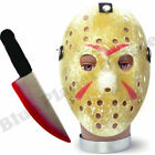 HALLOWEEN HOCKEY MASK & KNIFE PAINTED HORROR FANCY DRESS COSTUME