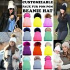 WOMENS NEW COLOURED FAUX FUR POM POM CUSTOMIZABLE PLAIN KNITTED BEANIE HAT