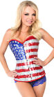 Womens Sequin American Flag Corset, Fourth Of July Corset
