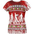 Ugly Christmas Sweater Bloody Zombie Attack Survivor All Over Womens T Shirt