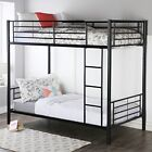 Classic Modern Twin Over Twin Metal Bunk Bed w/ Ladder