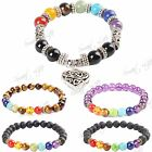 8mm Beads 7 Chakra Gemstone Healing Reiki Prayer Beaded Bracelet Men / Women UK