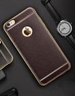 Leather Case For iPhone 7 8 Ultra Thin Electroplating  Frame Luxury TPU Brown