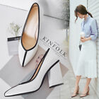 Elegant Womens Block Heel PU Dress Shoes Pointy Toe Splice Office Pumps Pull On