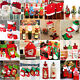Christmas Socks Tableware Ornaments Snowman Bottle Cover Decor Santa Xmas Lot
