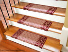 Dean Bullnose Non-skid DIY Carpet Stair Treads - Cranberry Scroll Border