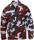 Mens Red Camouflage Military BDU Shirt Tactical Uniform Army Coat Fatigues