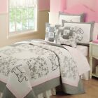 NEW Twin Full Queen Coverlet Quilt 3 pc Set Shams Black Pink Gray Scottie Dogs