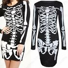 WOMENS LADIES BLACK SKELETON DRESS BONES PRINT BODYCON FANCY PARTY HALLOWEEN TOP
