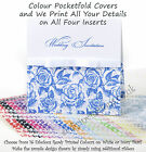 25 Personalised Pocketfold Invitations 16 Colours  - Rose/Script Wedding DIY