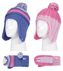 Heat Holders - Kids Girls Knit Winter Pom Pom Hat and Mittens Set with Ear Flaps
