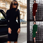 Women Turtle Neck Long Sleeve Casual Bodycon Stretch Party Cocktail Midi Dress