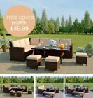 Brown Rattan Garden Furniture 9 Seater Corner Sofa Set Dining Table Free Cover!