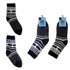 2 Pk Kids Boys Fairisle Knitted Fleece Lined Non-Slip Warm Slipper Socks SK307