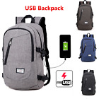 Mens Womens Laptop Notebook Backpack USB Charging Port Travel Canvas School Bag
