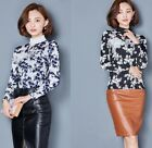 Chic Lacing Neck Floral Long Sleeve Blouse New Elegant Slim Bow Shirts Sweet
