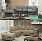 Hula Fabric Left- or Right-Hand Corner Sofa Formal With Storage Footstool