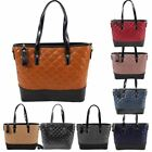 New Two Tone Quilted Faux Leather Ladies Fashion Shopper Tote Bag
