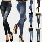 Womens Skinny Leggings Slim Denim Look Jeans Jeggings Stretchy Pants Trousers