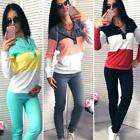 Women Hooded Patchwork Long Sleeve Sweatshirt Solid Pants Sport N98B