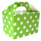 GREEN POLKA DOTS Kids Party Lunch Boxes Birthday Box Wedding Food Bag Meal Gift