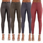 Womens High Waist Leather Look Skinny Fit Ladies Stretchy Trousers Size 6-14