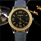Luxury Women's Leather Band Analog Quartz Rhinestone Crystal Round Wrist Watch