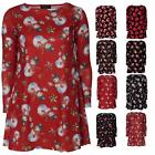 Women Ladies Christmas Xmas Printed Long Sleeve Mini Skater Dress Swing Novelty