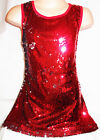 GIRLS 60s STYLE RED SILVER SPARKLING SEQUIN EVENING DISCO DANCE PARTY DRESS TOP