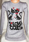 GIRLS GREY SPARKLY DIAMONTE CAT KITTEN PRINT PARTY KNIT JUMPER TUNIC DRESS TOP