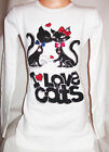 GIRLS CREAMY WHITE SPARKLY DIAMONTE CAT KITTEN PRINT PARTY KNIT JUMPER DRESS TOP