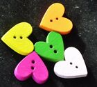 15 Wooden Heart Shaped Buttons for cardmaking scrapbooking sewing 19mm