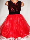 GIRLS RED SPARKLY SEQUIN TULLE PRINCESS EVENING OCCASION PROM PARTY DRESS