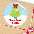 1x A4 Sheet Personalised Christmas gifts presents Stickers Labels Cute Bow Tree