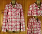 NEW M&S LADIES RELAXED FIT IVORY RED CHECK FLORAL COTTON SHIRT BLOUSE UK 12-18