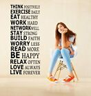 Think positively, exercise daily... Large Motivational Wall Sticker Wall Decor