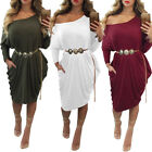 Fashion Womens Casual Loose Long Sleeve Irregular Dress Evening Party Dress