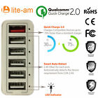 Lite-am® Smart Multi Port USB Charger With CQ 2.0 For phone, iPhone, TAB,s& iPad