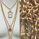 "Heavy Watch chain Necklace Gold Solid Brass lanyard vtg 16-31"" Victorian repro image"