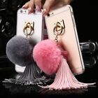 Rabbit Fur Ball Tassels Ring Clear Back Case Cover Bumper For iPhone7/7plus HP