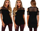 Woman's Ladies Caged Cut Out Shoulder Black Party Club Wear Party Top Size 14 16
