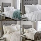 CL Classic Traditional Duvet Cover Set With Lace Bands Design - White or Cream
