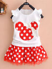 Внешний вид - NWT Minnie Mouse Girls White Shirt Red Polka Dot Skirt Outfit Set 2T 3T 4T 5T 6