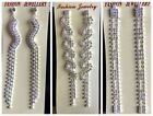 Silver Color Long Earrings For Women Crystal Bridal Drop Brincos Party Wedding