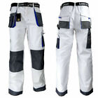 Mens Painters and Decorators Tuff Work Cargo White Trousers Knee Pads Pockets